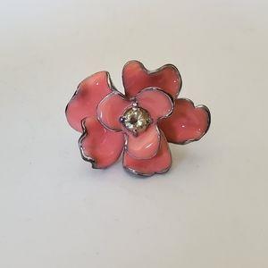 Peach Rose Enamel Size 8 Ring Yellow Rhinestone